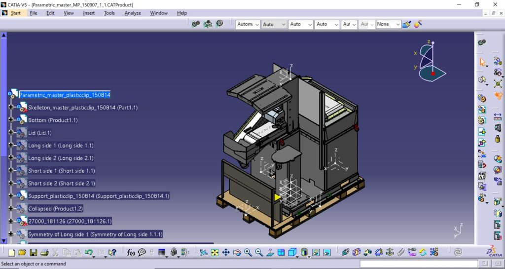 Catia 3D design illustration of machine equipment weighing 1,200 kg. located on a Clip-Lok pallet.