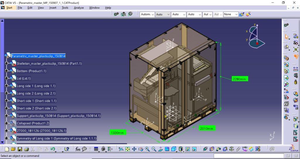 förpackningar - Lådan byggs kring produkten när den placerats på pallen. Skuminsatser placerade i lock och på sidor säkerställer att produkten står stabilt under transport.